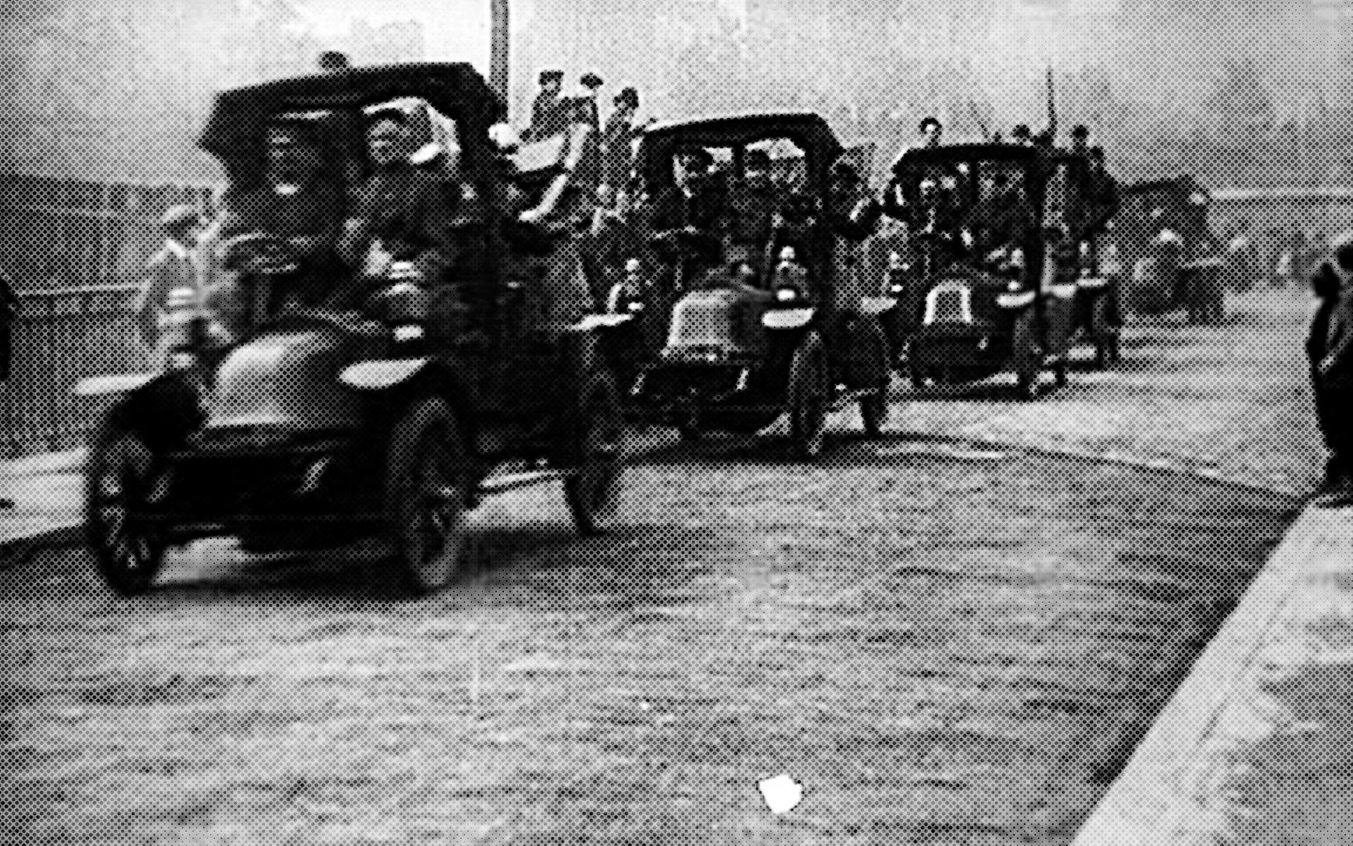 колонна такси во время второй мировой